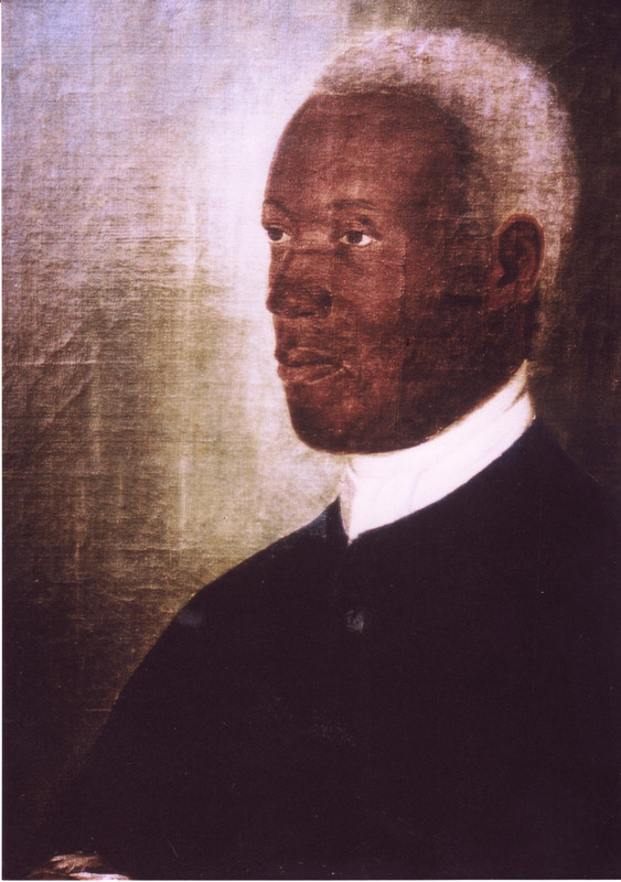 Detail of oil painting (courtesy of Jon Sensbach) held by the Moravian Archives (Unity Archives [Archiv der Bruder-Unitat]), Herrnhut, Germany). Cornelius was born in the Danish Virgin Islands of African parents. He ultimately became a Moravian and a prominent elder