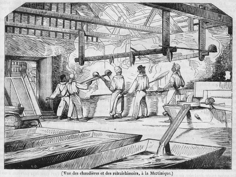 This illustration accompanies a general article on the history of sugar manufacture; the article also gives a detailed description of the processes employed at the time in the French West Indies. This view of the boiling house shows enslaved workers working with their large ladles moving the crystallized sugar from one copper to another (see also image Magasin2).