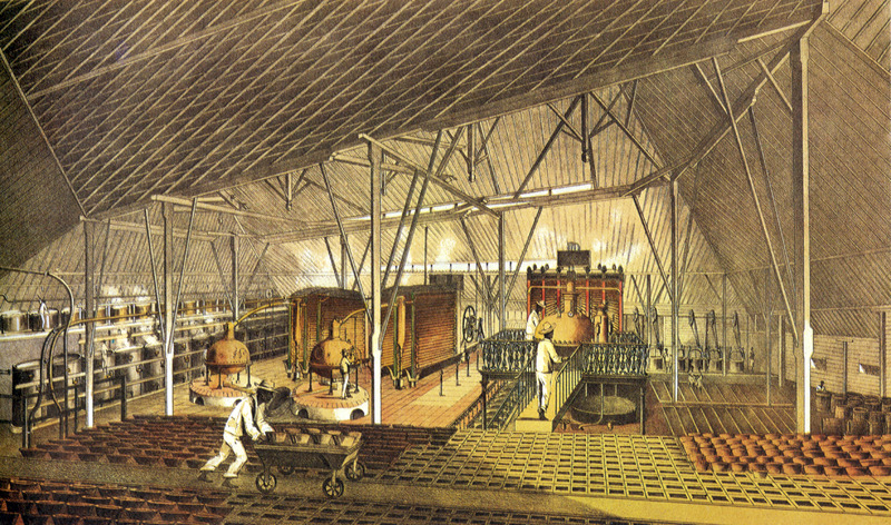 """""""Sugar Plantation La Ponina"""" (caption translation). This image shows the interior of a sugar factory with enslaved workers at various tasks. They are dressed in white shirts and trousers. The accompanying text gives information on location, ownership, technical features of sugar production and similar data. The plantation had 500 laborers, including enslaved Africans and Chinese wage-laborers. These groups were housed separately, the slaves in a barracks of about 7.1 square meters. Justo German Cantero (1815-1871) was born in Trinidad, Cuba. The image shown here is from the 1984 reprint which only reproduces, on a smaller scale, 13 of the 28 colored lithographs found in the original 1857 edition. Images in the latter can be viewed on the British Library website, Images Online."""