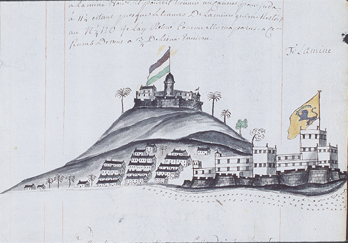 """This sketch shows Elmina Castle in the Voltaic region. Durand sailed on a French slaving vessel when he visited the West African coast. He wrote that """"Elmina is undoubtedly the most handsome and strongest fort of the coast. It is situated on the seashore, and farther up on a mountain is another fort that dominates the one below. . . The village at the foot of the two forts resembles a small city. The streets are well laid out, and there are workers of all professions. The houses are very pretty"""" For Durand's comments on this drawing and its historical context, see Robert Harms, The Diligent: A Voyage through the worlds of the slave trade (Basic Books, 2002), fig. 17.1 pp. 133-135; and also Christopher DeCorse, An Archaeology of Elmina: Africans and Europeans on the Gold Coast, 1400-1900 (Smithsonian Institution Press, 2001)."""