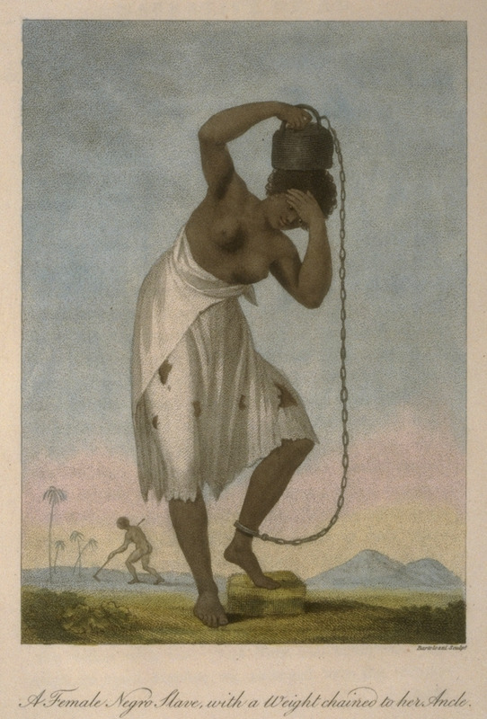 Shows a woman carrying a weight chained to her ankle; in background, a man tilling ground with a hoe. The woman was judged guilty of not speaking when spoken to by a white person; for this she received 200 lashes and was forced to carry a 100 lb. weight for several months. This and other engravings are found in the autobiographical narrative of Stedman, a young Dutchman who joined a military force against rebellions of the enslaved in the Dutch colony. The engravings are based on Stedmanís own drawings and were done by professional engravers. For the definitive modern edition of the original 1790 Stedman manuscript, which includes this and other illustrations see Richard and Sally Price, eds. Narrative of a five years expedition against the revolted Negroes of Surinam (Baltimore: Johns Hopkins University Press, 1988).