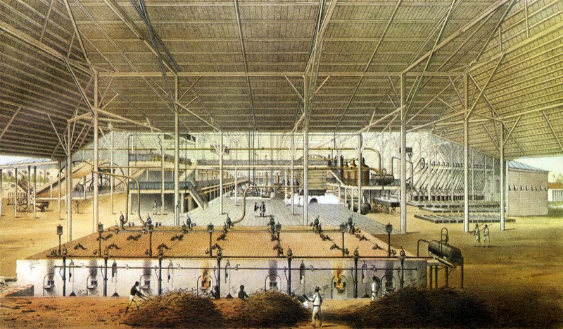 """Boiling House of the Sugar Plantation Santa Susana"" (caption translation). This image shows the interior of a factory with enslaved people in foreground feeding sugar cane refuse into the furnaces. The accompanying text gives information on location, ownership, technical features of sugar production and similar data. The plantation had 632 enslaved laborers, plus 20 Chinese, and 34 Yucatecos. These people were housed in two barracks of 3.55 square meters each. Justo German Cantero (1815-1871) was born in Trinidad, Cuba. The image shown here is from the 1984 reprint which only reproduces, on a smaller scale, 13 of the 28 colored lithographs found in the original 1857 edition. Images in the latter can be viewed on the British Library website, Images Online."