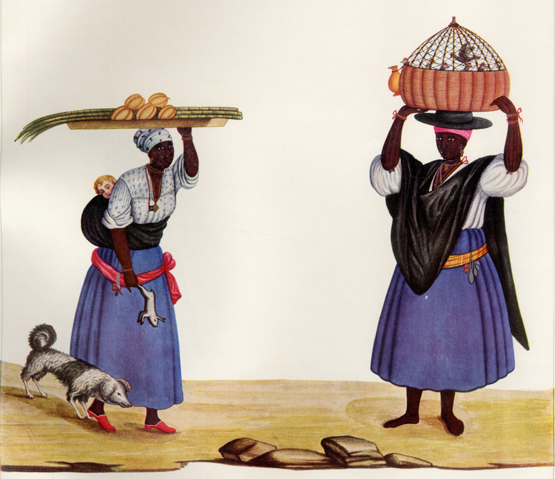 Shows different clothing styles. The woman on the left carries a wooden tray with sugar cane and fruit, while a (white) child is strapped to her back. The woman on the right carries a bird cage made of basketry.  Born in Italy ca. 1740, Juliao joined the Portuguese army and traveled widely in the Portuguese empire; by the 1760s or 1770s he was in Brazil, where he died in 1811 or 1814. For a detailed analysis and critique of Juliao's figures as representations of Brazilian slave life, as well as a biographical sketch of Juliao and suggested dates for his paintings, see Silvia Hunold Lara, Customs and Costumes: Carlos Juliao and the Image of Black Slaves in Late Eighteenth-Century Brazil (Slavery & Abolition, vol. 23 [2002], pp. 125-146).