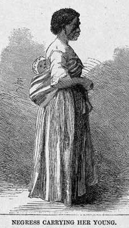 This image depicts a mother carrying her child on her back in Brazil. Harper's Weekly provides no specific information on this illustration, but it appears to have been derived from a photograph taken by Jose Christiano de Freitas Henriques Junior, a Portuguese-born cameraman, who produced dozens of portraits of slaves in his Rio studio in the 1860s. For a copy of the original photograph and other details on Junior and his photographs of enslaved Brazilians, see Robert Levine, Faces of Brazilian Slavery: The Cartes de Visite of Christiano Junior, The Americas, vol. 47 (1990), pp. 127-159; particularly p. 147. Harper's Weekly: A Journal of Civilization was an American political magazine based in New York City and published by Harper & Brothers from 1857 until 1916. It featured foreign and domestic news, fiction, essays on many subjects and humor, alongside illustrations. It covered the American Civil War extensively, including many illustrations of events from the war.