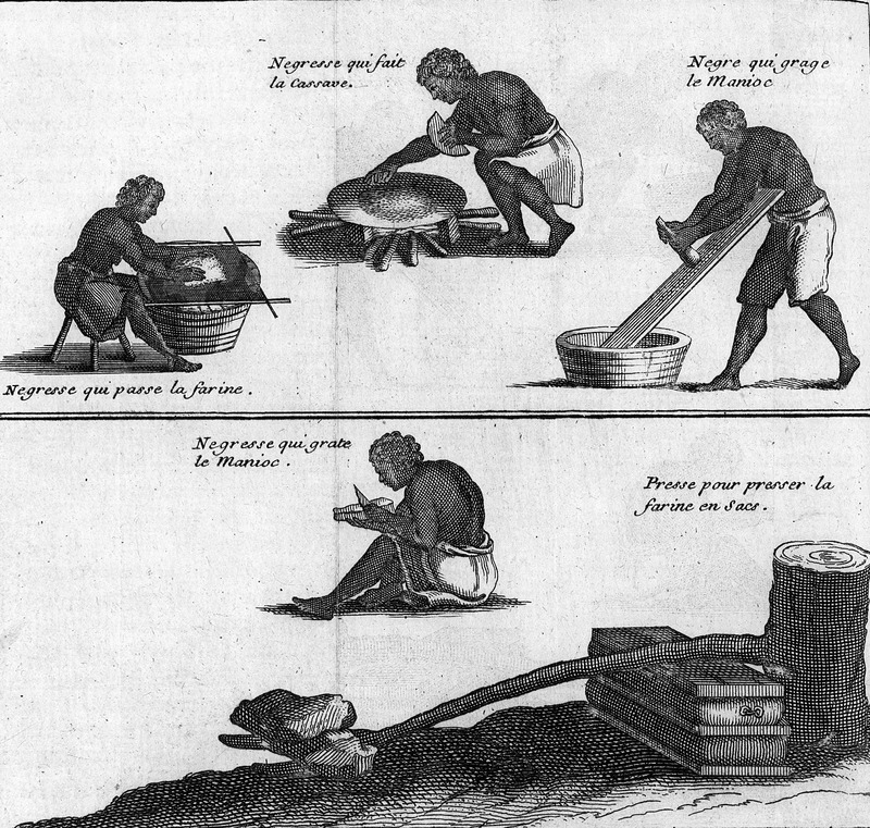 Shows enslaved men and women engaged in various phases of preparing manioc flour, including grating and scraping the plant and sifting the flour. Top, center, a woman is baking cassava bread on a griddle, and bottom right shows the press that compresses the flour in bags. See also Astley002 on this website.