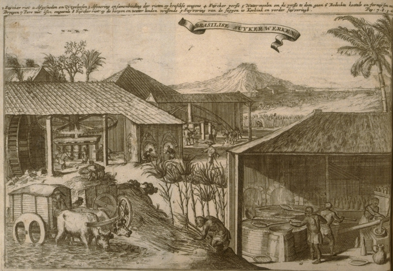 Caption: Brasilise Suykerwerken; shows vertical roller mills, water (left), cattle (upper center). Boiling house (lower right).