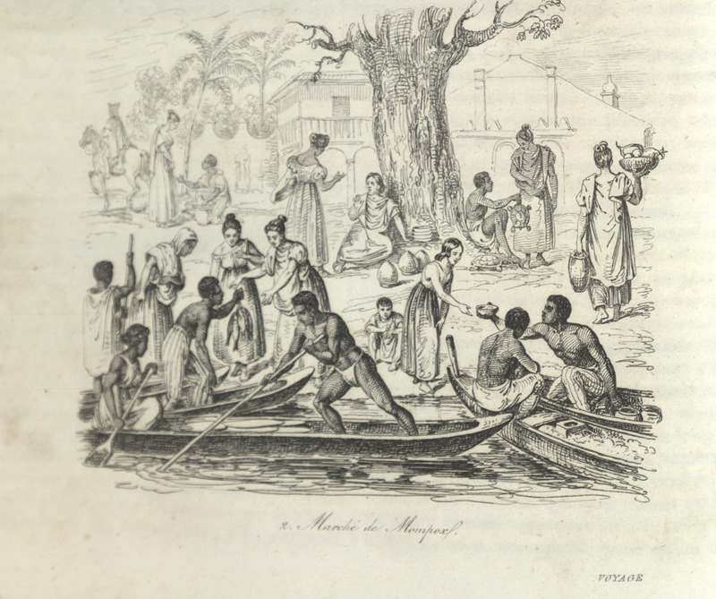 Caption, Marchè de Mompox. The author visited Mompox, the largest inland Colombia town containing the largest proportion of free people of color (also inhabited by small numbers of black slaves and whites). He described its architecture and remarked on its busy and well-stocked markets. The main marketplace, shown in this engraving, was on the banks of the Magdalena river. The picture shows fish sellers in the canoes, farmers with their goods; at the foot of a tree a woman sells pottery and a man sells a turtle/tortoise. The author notes that all kinds of fruits, fresh meat, poultry and vegetables are abundant in this lively market (pp. 80-81).