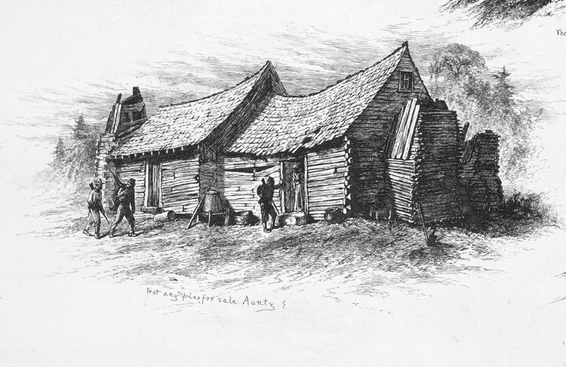 Captioned, Got any pies for sale Aunty? shows a Union soldier inquiring at the door of a slave (?) house; shows double wood house, with wood shingles and chimney; an iron pot in the foreground.