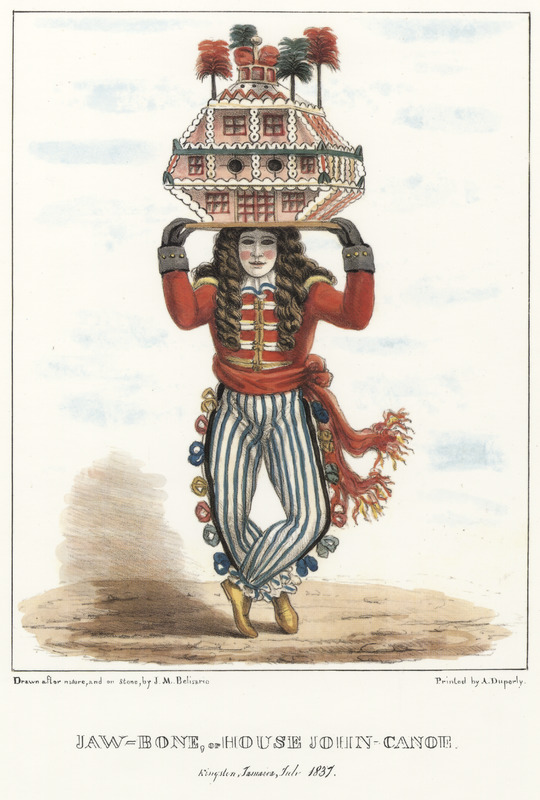 """This lithograph shows a man in a redcoat, white mask, a long-haired wig and carrying a model house on his head. Belisario described that this """"is the most conspicuous of those who annually attract public notice."""" His pseudo military dress-style was """"in common with the whole John Canoe fraternity."""" He was always masked """"with a profusion of dark hair, which is suffered to fall in large wild ringlets over his face and shoulders, giving his appearance an extraordinary and savage air. . . The house [on his head] is usually constructed of pasteboard and coloured papers — it is also frequently highly ornamented with beads, tinsel, spangles, pieces of looking glass, etc. etc. and being firmly fixed on a board, the bearer is enabled to balance it whilst going through many. . . contortions of body and limbs miscalled dancing."""" Isaac Mendes Belisario (1795–1849) was a Jamaican artist of Jewish descent and active in Kingston Jamaica around British emancipation in 1833. The image shown here, as well as others of """"John-Canoes,"""" was drawn from life by Belisario in 1836. This lithograph is one of twelve originally published in three parts, four plates at a time."""