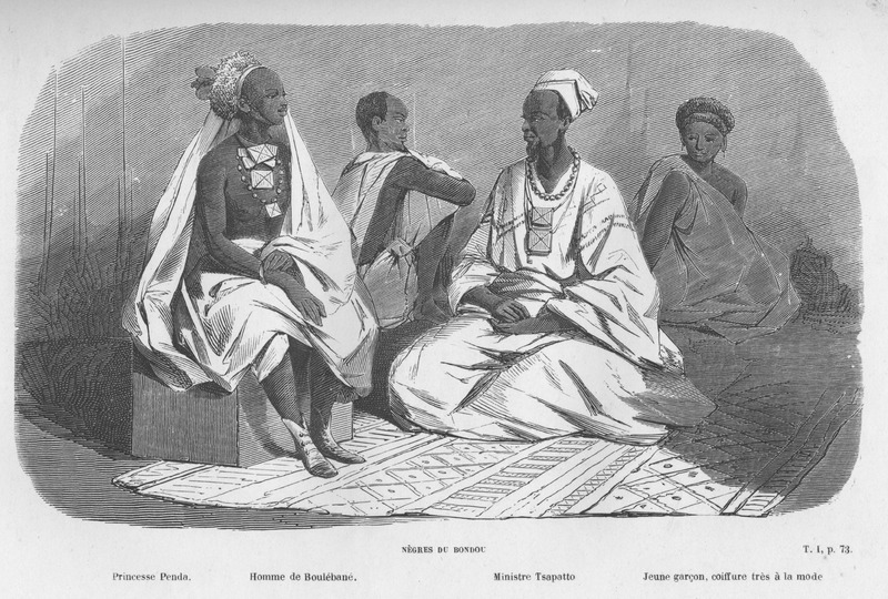 Captioned, Negres du Bondou, shows three males and one woman with their clothing, hair styles, jewelry, etc. The woman on the left is identified as Princesse Penda, the man to her right as homme de Boulebane, next is Ministere Tasapatto. On the right is a young boy whose hair is arranged in a fashionable style (jeune garcon, coiffure tres a la mode).