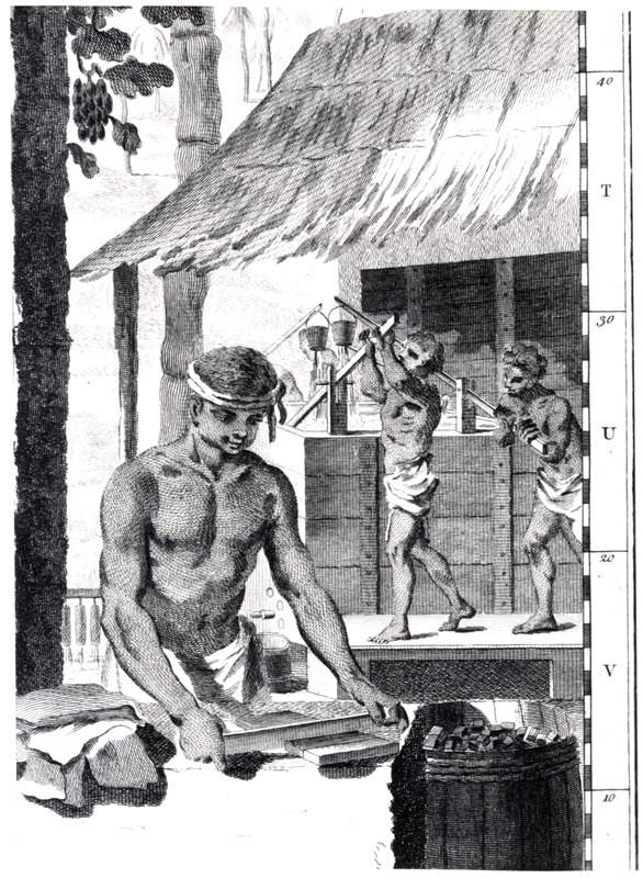 DeBrahm was the major author and surveyor of this map. This illustration on the map (located in the right hand lower corner) shows in the background two male slaves skimming off water from an indigo vat, leaving the remaining indigo to thicken into a paste that will be later removed and dried in blocks; in the foreground, a slave is dividing the indigo into blocks or cubes for shipment in barrels, also seen in the illustration. The same illustration was reprinted in London in 1780 in an up-dated version of this map, containing additional survey material and published by William Faden; the 1757 map is usually cataloged under DeBrahm, while the 1780 republication is cataloged under Faden. (Frederick Knight brought this illustration to our attention and assisted with some of the descriptive details; Susan Danforth, The John Carter Brown Library, helped with identification issues.)